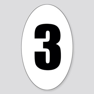 Number Three - No. 3 Sticker (Oval)