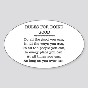 RULES FOR DOING GOOD Sticker (Oval)