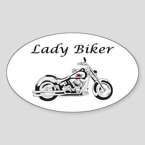 Lady Biker I Sticker (Oval)