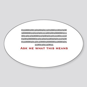 "Rude Binary: ""Bite My Shiny M Oval Sticker"