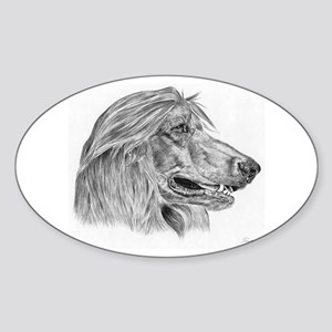 Afghan Hound Pencil Drawing Oval Sticker