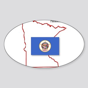 Minnesota State Map and Flag Sticker