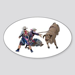 Clowns and Bull-2 without Text Sticker (Oval)