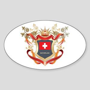 Swiss flag emblem Oval Sticker