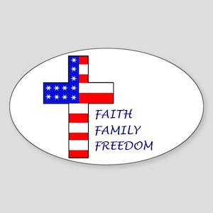 Faith, Family, Freedom Oval Sticker