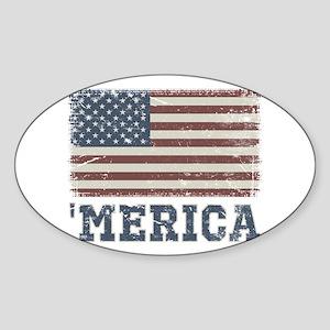 'Merica Flag Vintage Sticker (Oval)