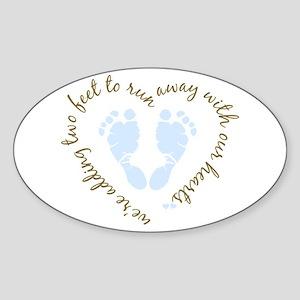 Adding Two Feet (blue) Oval Sticker