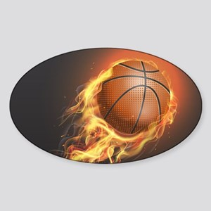 Flaming Basketball Sticker