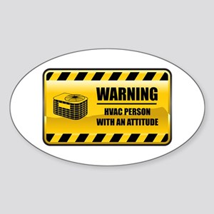 Warning HVAC Person Oval Sticker