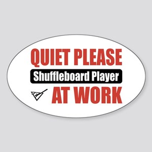 Shuffleboard Player Work Oval Sticker