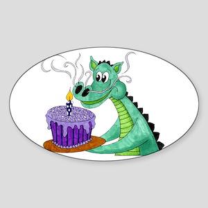 Birthday Dragon Oval Sticker