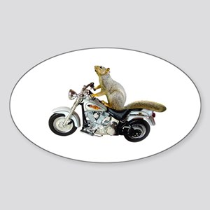 Motorcycle Squirrel Sticker (Oval)