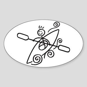 Happy Kayak Sticker (Oval)
