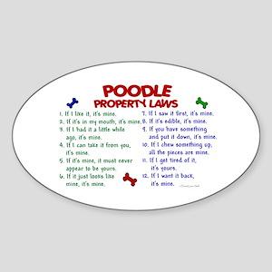 Poodle Property Laws 2 Oval Sticker