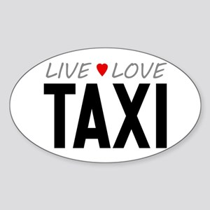 Live Love Taxi Oval Sticker