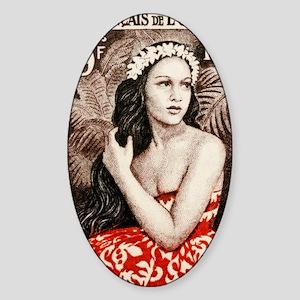 1955 French Polynesia Bora Bora Gir Sticker (Oval)