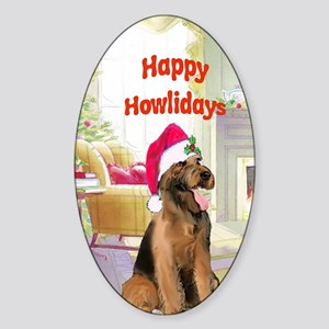 2-airedale card Sticker (Oval)