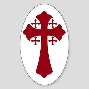 Jerusalem Cross Oval Sticker