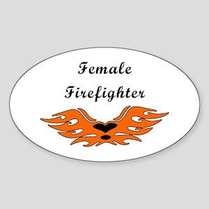 Female Firefighting Oval Sticker