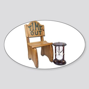 Timeout Chair Hourglass Sticker (Oval)