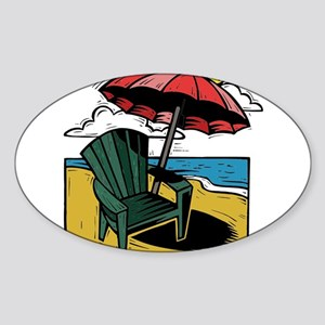 Woodcut Style Print of Beach Umbrella Chair and Oc