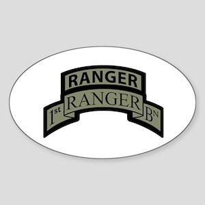 1st Ranger Bn with Ranger Tab Oval Sticker