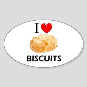 I Love Biscuits Oval Sticker
