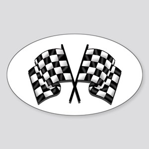 Chequered Flag Sticker (Oval)