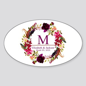Boho Wreath Wedding Monogram Sticker