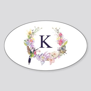 Hummingbird Floral Wreath Monogram Sticker