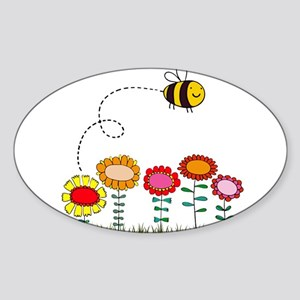 Bee Buzzing Flower Garden Shower Curtain White.pn