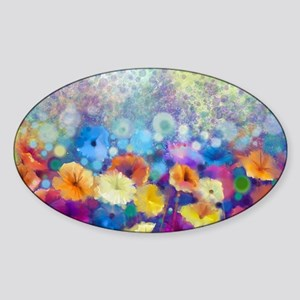 Floral Painting Sticker (Oval)