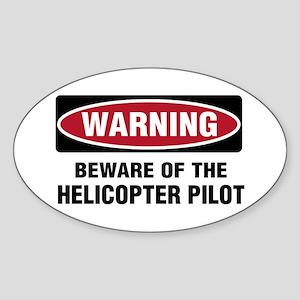 Warning Heli Pilot Oval Sticker