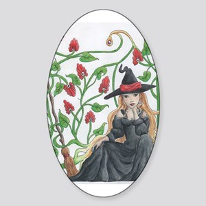 Witch's Broomstick Sticker (Oval)