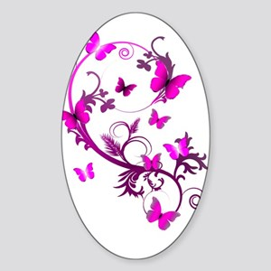 Bright Pink Butterflies Sticker (Oval)