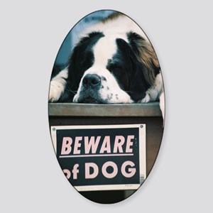 Beware of Dog Sticker (Oval)