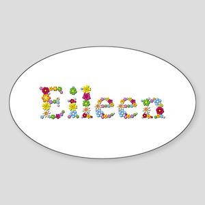 Eileen Bright Flowers Oval Sticker