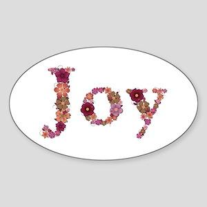 Joy Pink Flowers Oval Sticker