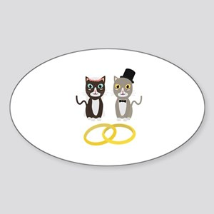 Wedding Cats with Rings Sticker