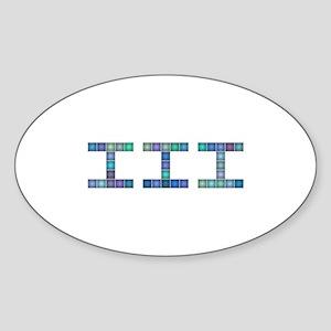 III (Three) (Pixels) (Blue) Sticker