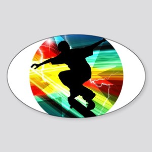 Skateboarder in Criss Cross Lightning Sticker