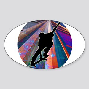 Skateboard on a Building Ray Sticker