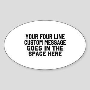 Customize Four Line Text Sticker (Oval)