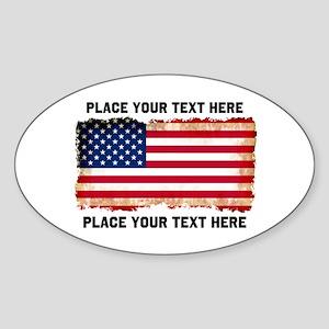 Vintage Flag America Sticker (Oval)