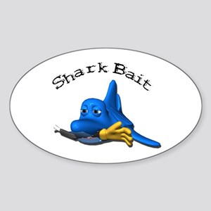 Funny Shark Bait (Bite) Design Oval Sticker