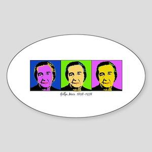 golda andy warhol Oval Sticker