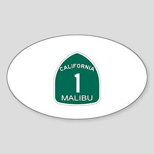 Malibu, California Highway 1 Oval Sticker