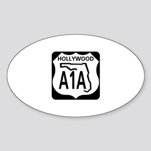 A1A Hollywood Oval Sticker