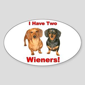 Two Wieners Oval Sticker