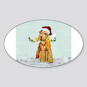 Winter Airedale Oval Sticker